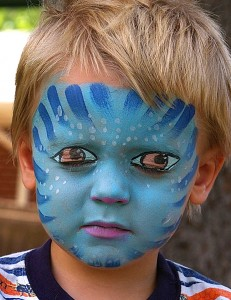 blue face boy