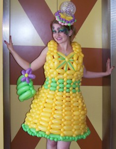 girl in balloon dress to knees