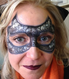 stylized cat mask face paint