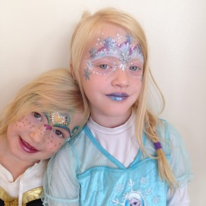 Elsa and Anna sisters face painting