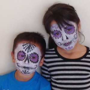 sugar skulls face painting brother and sister
